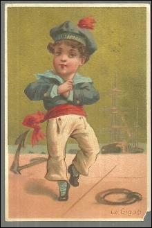 Victorian Trade Card for Edgar S. Allien Men's Outfitter Sailor Dancing La Gigue