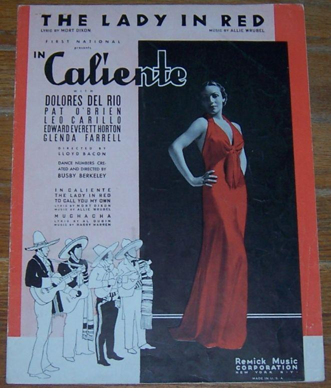 Lady in Red From In Caliento with Dolores Del Rio 1935 Sheet Music