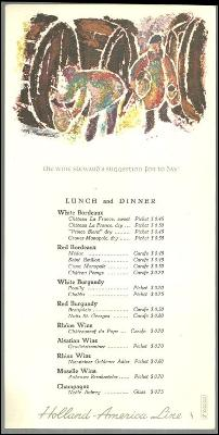 Vintage Wine Menu for Holland-America Line