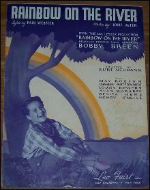 Rainbow on the Rainbow on the River Sung by Bobby Breen 1936 Movie Sheet Music