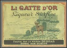 Vintage Label for Li Gatte D'Or Liqueur Surfine, Fourni Par La Maison Debras