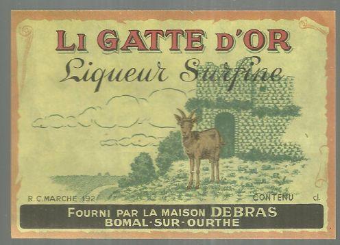 Vintage Label for Li Gatte D'Or Liqueur Surfine, Fourni Par La Maison Debras