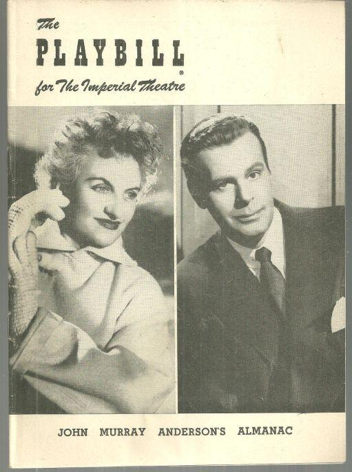 Playbill Hermoione Gingold and Billy De Wolfe in John Murray Anderson's Almanac