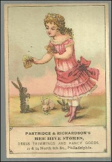 Victorian Trade Card Patridge and Richardson's Bee Hive Stores Girl with Bunnies