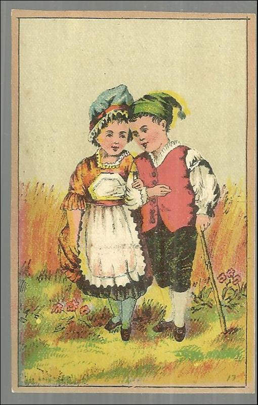 Victorian Trade Card for Shaw's Snow Puff Baking Powder with Courting Couple
