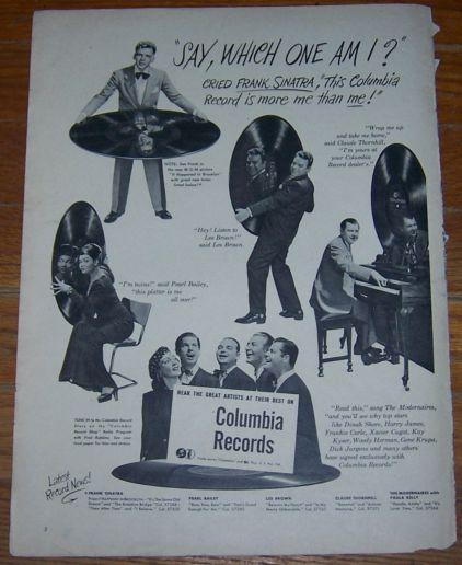 1947 Columbia Records Life Magazine Advertisement Featuring  Frank Sinatra