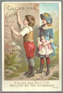 Victorian Trade Card for Cacao Van Houten. C. J. Van Houten With Boy and Girl
