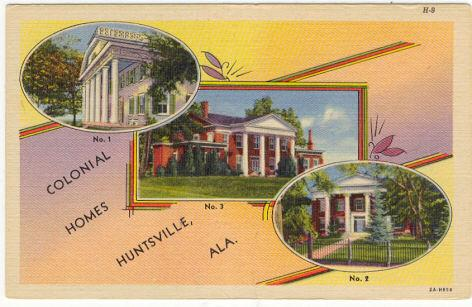 Postcard of Colonial Homes of Huntsville, Alabama