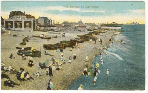 Postcard of The Beach at Folkestone, Kent, England
