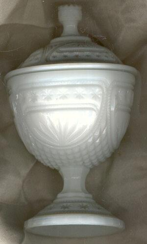Milk Glass Covered Compote Star Design