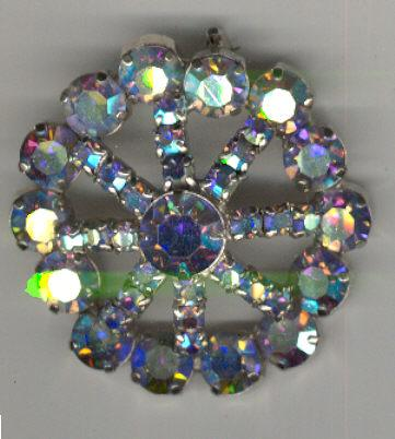 Opalescent Rhinestone Round Brooch