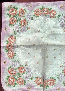 Orange and White Flower Handkerchief with Pink Border