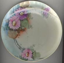 Handpainted Pink and Purple Flowers Plate