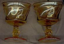 Pair of Fostoria Amber Jamestown Sherbet Glasses