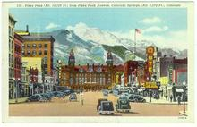 Pikes Peak Avenue, Colorado Springs, Colorado 1947 Postcard