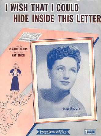 I Wish That I Could Hide Inside This Letter World War II Joan Brooks Sheet Music