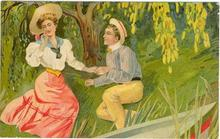 Postcard of Courting Couple on Riverbank EL Series 1910