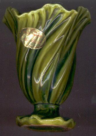 E. O. Brody Green Sea Mist Pottery Vase