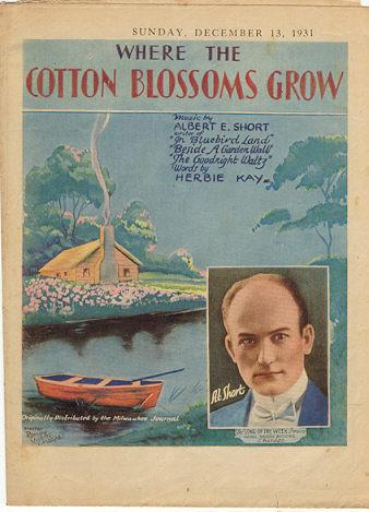 Where the Cotton Blossoms Grow by Al Short 1931 Song