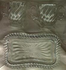 Fostoria Colony Crystal Creamer Sugar Tray