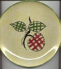 Blue Ridge Bright Yellow Plaid Fruit Dinner Plate