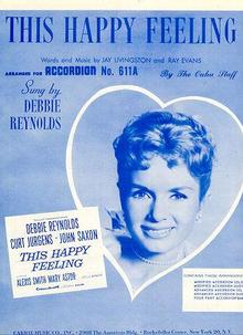 Debbie Reynolds Sings This Happy Feeling 1958 Sheet Music