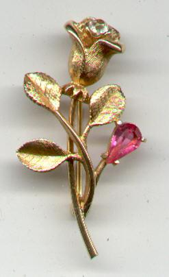 Avon Rose Pin with Rhinestones