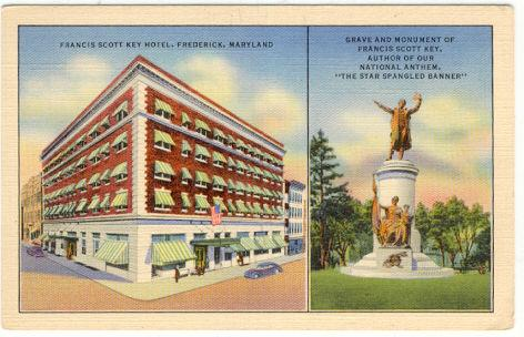 Postcard of Frances Scott Key Hotel and Grave and Monument, Frederick, Maryland