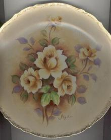 Handpainted Floral Rose Plate