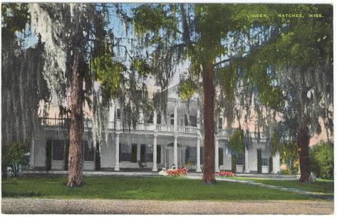 Postcard of Linden House in Natchez, Mississippi