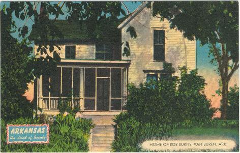 Postcard of Home of Bob Burns, Van Buren, Arkansas 1954