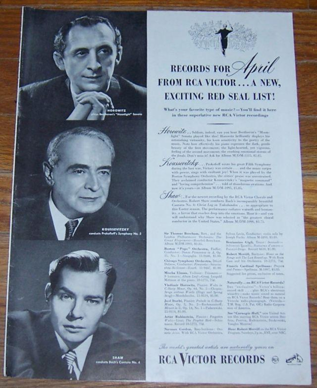 1947 RCA Victor Records Life Magazine Advertisement Featuring Great Artists