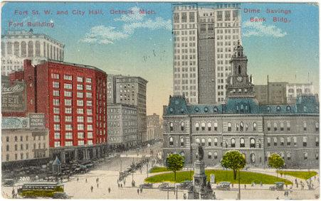 Postcard of Fort Street from City Hall, Detroit, Michigan 1915