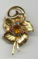 Gold Toned Rhinestone Flower Pin