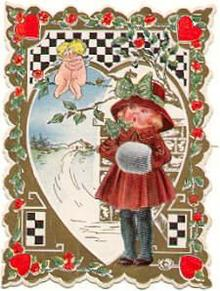 Victorian Valentine Card with Little Girl
