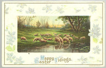 Happy Easter Tidings Postcard with Flock of Sheep