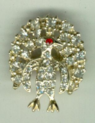Rhinestone Peacock Pin with Red Eye