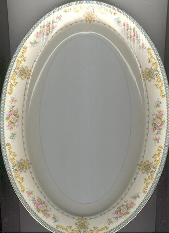 Meito China Platter Flowers and Blue Border