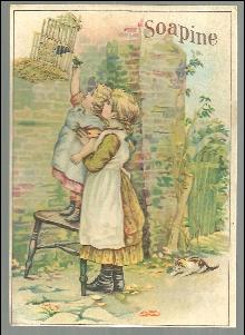 Victorian Trade Card for Soapine with Little Girls and Their Pet Bird