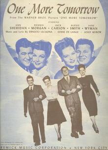 One More Tomorrow starring Ann Sheridan Dennis Morgan 1945 Sheet Music