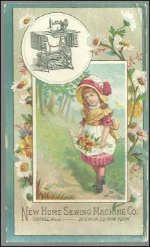 Victorian Trade Card New Home Sewing Machine With Little Girl Picking Flowers