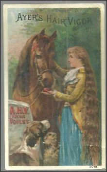 Victorian Trade Card for Ayer's Hair Vigor with Girl and Her Horse Thoroughbred