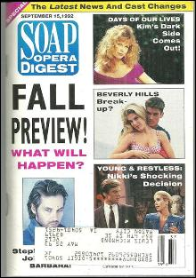 Soap Opera Digest Magazine September 15, 1992 Fall Preview and  Leslie Charleson