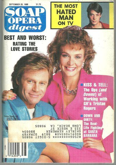 Soap Opera Digest Magazine September 20, 1988 Tristan Rogers and Jennifer Anglin