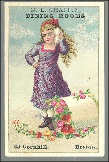 Victorian Trade Card for N. L. Chaffin Dining Rooms, Boston with Little Girl