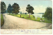View of Lake, Belle Isle Park Detroit, MI 1906 Postcard