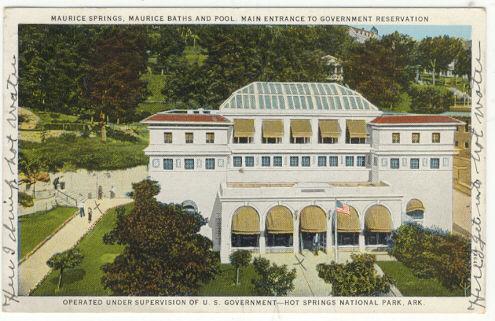 Maurice Baths and Pool Hot Springs, Arkansas 1932 Postcard