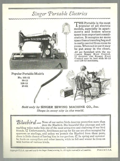 Victorian Trade Card Singer Sewing Machine American Song Birds Series Blue Bird