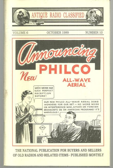 Antique Radio Classified October 1989 Philco All-Wave Aerial on Cover