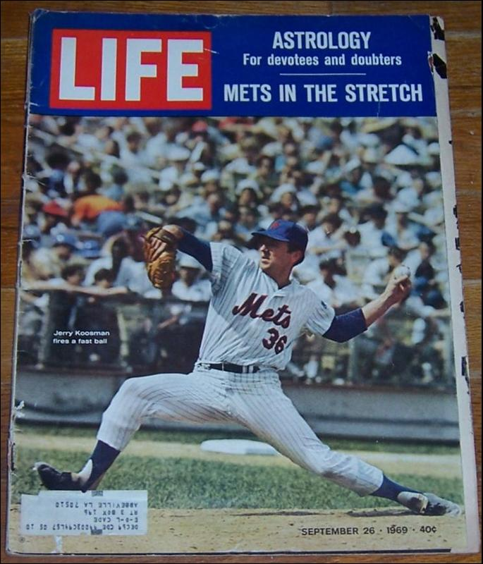 Life Magazine September 26, 1969 Jerry Koosman Fires a Fast Ball for the Mets